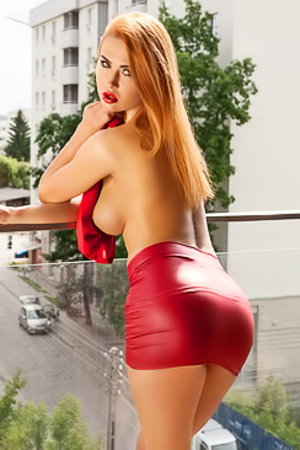 Justyna Dirty Redhead in Red Dress