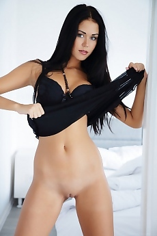 Pretty Macy takes off her black lingerie