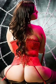 Michelle Brown In Sexy Red Corset