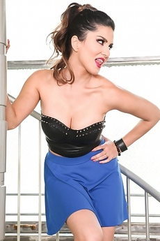 Sunny Leone Relaxing By Her Staircase